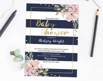Baby Shower Invitation Template Download, Floral Baby Shower Theme, Navy Pink Gold, Faux Gold Foil Letters, Editable Baby Shower Invite, GF1