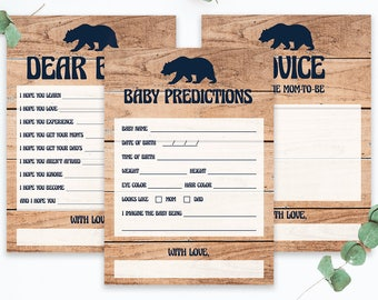 Rustic Baby Shower Keepsakes Printable, Baby Shower Games Instant Download, Woodland Animals Theme, Baby Bear Baby Boy Shower Games Pack BBL