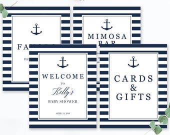 Nautical Baby Shower Kit Decoration Baby Shower Package Boy Anchor Baby Shower Signs Printable Navy Blue Baby Sprinkle Table Decor PDF NS1