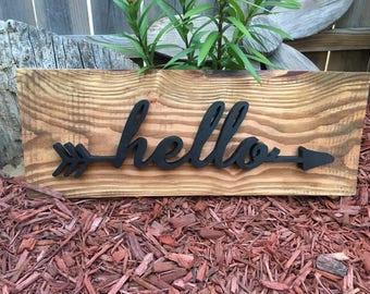 Handmade Hello Arrow Sign