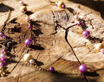 Necklace beads wood and purple