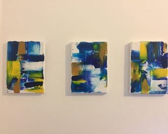 Abstract Acrylic Paintings Set Of Three 5X7in Small Art Blue Yellow White