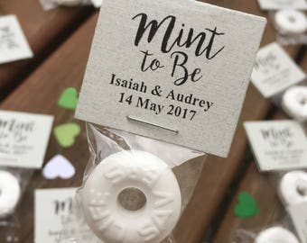 100 Custom Wedding Mints - Light Gray, Mint To Be, Wedding Favors, Wedding Candy, High Quality, Personalized