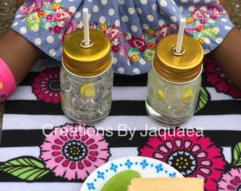 18 inch Doll Mason Jar Drinks, American Girl, 14 inch doll