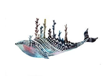 Fabulous Whale - colorful whale illustration, print