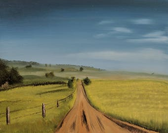 Country Road oil painting on canvas blue green landscape