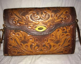 Large Handtooled Leather Messager Bag
