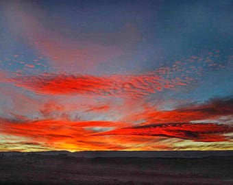 Original fine art photography print  - Red and blue sunset