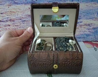 Navy Suede Travel Jewellery Box