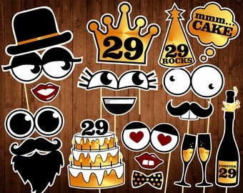 29th Birthday Photo Booth Props - Instant Download - 29 Birthday Party Photo Booth Supplies - Printable PDF - Black and Gold