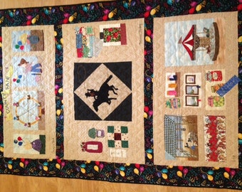 """Handmade, quilted, """"County Fair"""" wall hanging 50'(w) x 72'(h)"""
