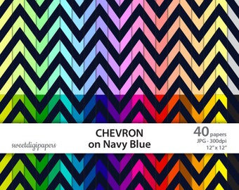 Colors Chevron Scrapbook paper, Colorful Digital Paper, On Navy Blue, Chevron Digital Paper, Chevron Background, commercial use