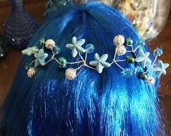 Beach Inspired Hair Pin Trio-Blue Star Fish