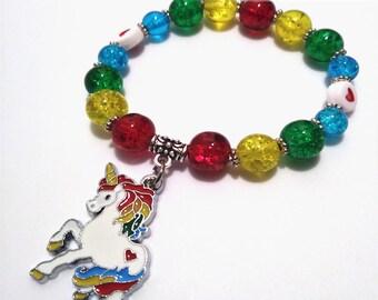 Rainbow Unicorn Bead Bracelet