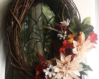 Fall wreath, Fall,Wreath, harvest, country, grapevine,oval wreath, floral wreath