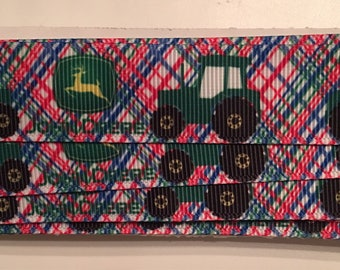 John Deere Tractors on Red Blue Green Plaid 7/8 inch Grosgrain Ribbon