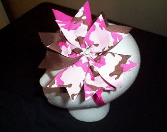 Pink Camouflauge with rhinestone hair bow on pink headband
