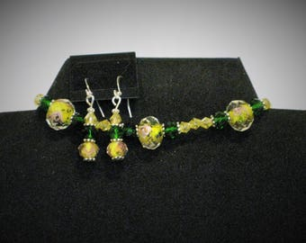 Lampwork glass jewelry set,  bracelet and earring jewelry set, Lampwork glass bracelet and earring set, jewelry set,