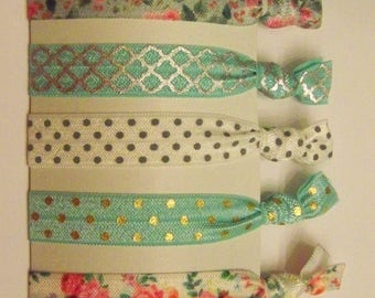 Hair Tie Set - Rose print/Mint
