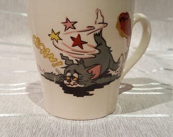 Collector Vintage Tom and Jerry Mug Coffee Cup 1970 Staffordshire England