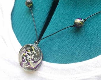 Handmade glow in the dark seed of life flower of life clay necklace