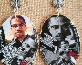 Malcolm X Collage earrings