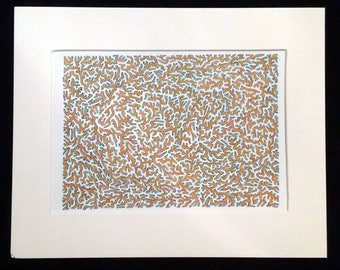 Coral Reef - Original Abstract Artwork, Orange and Sea Blue