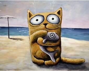 Cat with Fish , cat Drawing, Cute Cat, Cat cartoon, black Cat big eyes cat