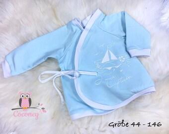 Baby shirt mint & white - girl young sweater Maritim application - Jersey long sleeve shirt handmade children's clothing - tailor made