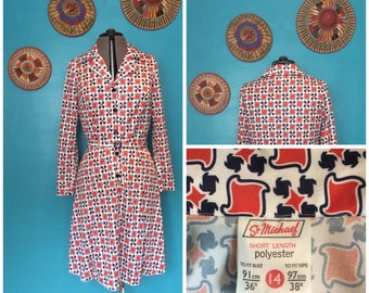 1970s St Michael Red, White & Blue Patterned Belted Day Dress size 12