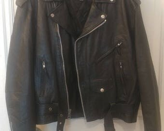 Leather Jacket Mens size 44 - Silver Bike Genuine Leather Jacket