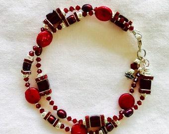 Swarovski  beaded bracelet, Red Swarovski beaded bracelet, red pearl jewelry, multi-strand bracelet, gift for her, January gift.