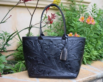 Black Hand Tooled Leather Tote- 3 Flowers