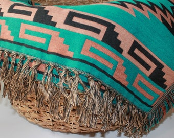 Southwest Decorative Throw Blanket - Teal/Tan/Black