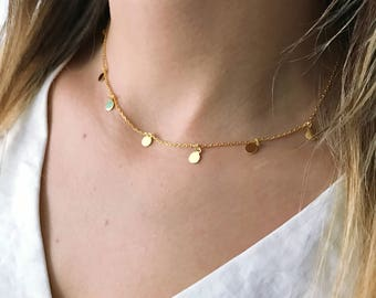 Small Coins Necklace, Bohemian Jewelry, Layering Necklace, Gold Minimal Necklace, Minimalist Jewelry, Gold Plated Sterling Silver / NL0085