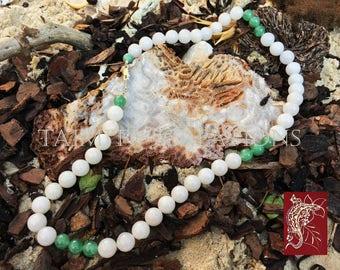 Semi-Precious White Malayan Jade and Aventurine Necklace