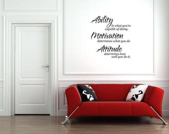 Ability Motivation Attitude Gym Success Vinyl Wall Quote Sticker Wall Decal