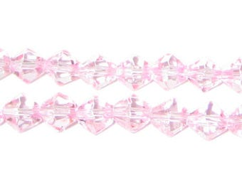 8mm Pink Bi-cone Fire Polish Glass Bead