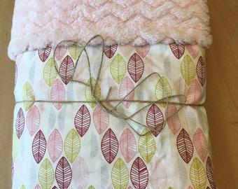 Lime and pink leaf baby blanket