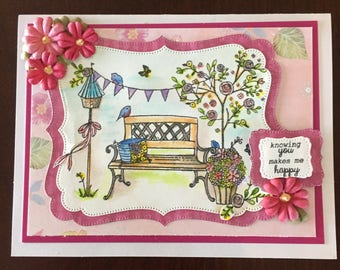 Friendship, thinking of you, birthday, just because, park bench scene, watercolor, pink card