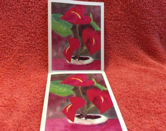 Note Cards Set #6 Hawaiian Anthuriums