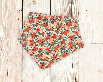 """Dog Bandana """"Peach Roses"""" - dog snap bandana, snap-on dog bandana, dog bandana with snaps, bandana for a dog, flowery dog bandana"""