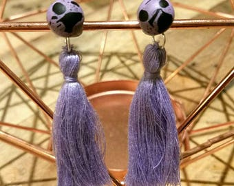 Lilac resin studs with tassels