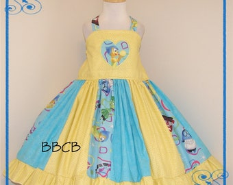 Girls - Emotions Inside JOY Dress - Ready to Ship fits aprxx 3/4 4T - Birthday Party - Happy Feelings - Twirl