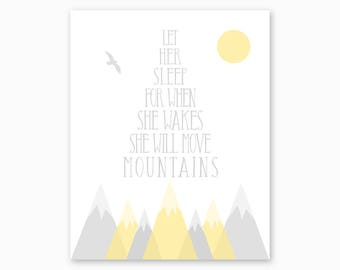 YELLOW GRAY GIRL Nursery, Nursery Printable, Baby Girl Gift, Girl Nursery Decor, Mountain Nursery, She Will Move Mountains, Instant Download