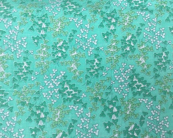 Narrow width 50s vintage fabric Cotton seafoam green floral print fabric quilting doll clothes