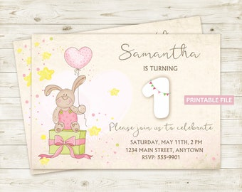 Baby Birthday Invitation PRINTABLE Bunny Balloon, Digital Baby Girl Invitation Birthday, Digital Baby Invitation, Printable Baby Invitation