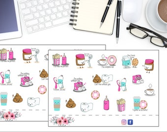 Kawaii Everyday Planner Stickers, Chores Planner Stickers, Household Planning Stickers, Cute Kawaii Planner Stickers, Planning Accessories