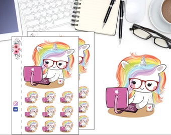 Planner Boss Girl Planner Sticker, Unicorn Work Sticker,  Fantasy Planner Stickers, Rainbow Unicorn, Scrapbook Sticker, Planner Accessory