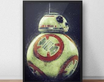 BB8 - Star Wars Print - Star Wars Poster - Star Wars Gift - Star Wars decor - Droid - The force awakens - Movie poster - Movie print